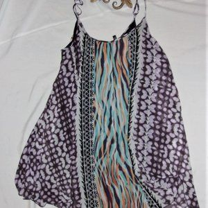 Express small womens boho purple white dress